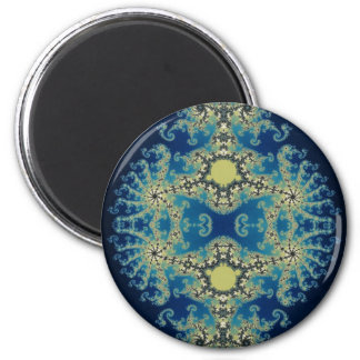 Mandelbrot azul marino imán redondo 5 cm