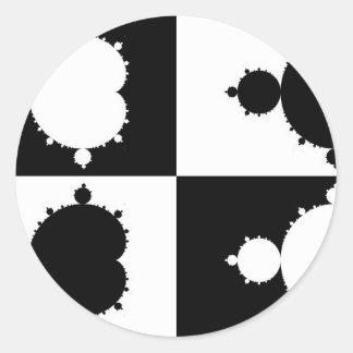 Mandelbrot blanco y negro pegatinas redondas