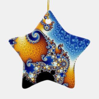 Mandelbrot Blue Double Spiral Fractal Ceramic Ornament