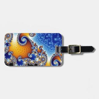 Mandelbrot Blue Double Spiral Fractal Bag Tags