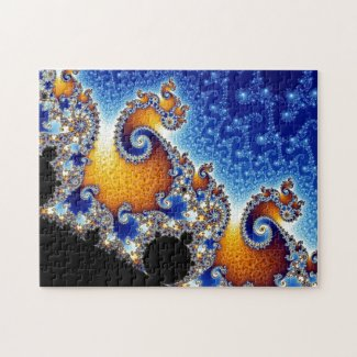 Mandelbrot Blue Double Spiral Fractal Puzzles