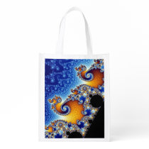 Mandelbrot Blue Double Spiral Fractal Reusable Grocery Bag