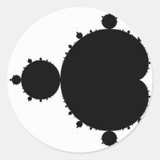 Mandelbrot negro pegatina redonda
