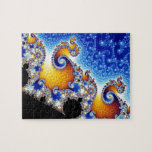 """Mandelbrot Set Satellite Double Spiral Fractal Jigsaw Puzzle<br><div class=""""desc"""">The Mandelbrot set is a mathematical set of points whose boundary is a distinctive and easily recognizable two-dimensional fractal shape. The set is closely related to Julia sets (which include similarly complex shapes) and is named after the mathematician Benoit Mandelbrot,  who studied and popularized it.</div>"""