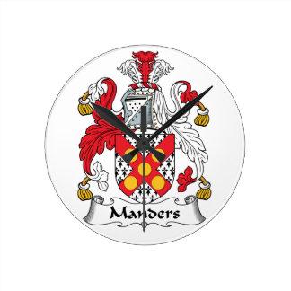 Manders Family Crest Round Clock