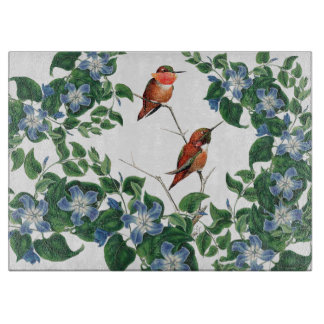 Mandevilla Flowers Hummingbird Birds Cutting Board