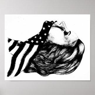 Mandíbulas del chica del americano de la libertad póster