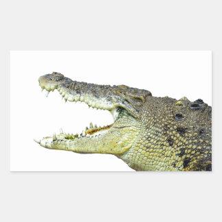 Mandíbulas enormes del cocodrilo abiertos de par pegatina rectangular