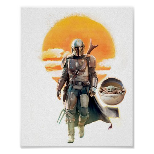 Mando and The Child  Sunset Walk Poster