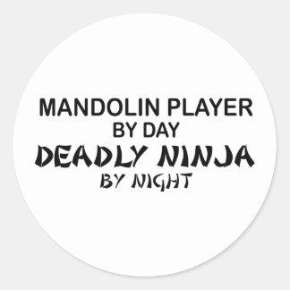 Mandolin Deadly Ninja by Night Classic Round Sticker