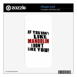 MANDOLIN DON'T LIKE DESIGNS DECALS FOR THE iPhone 4S