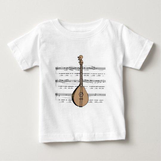 mandolin lute and sheet music baby T-Shirt