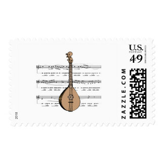 mandolin lute and sheet music postage stamps