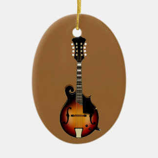 Mandolin Mustard Double-Sided Oval Ceramic Christmas Ornament