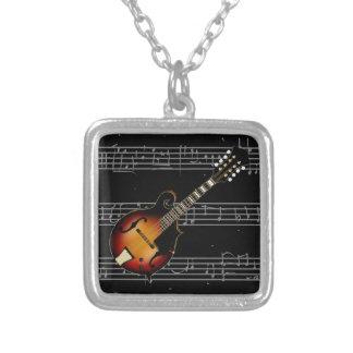 Mandolin Mustard Square Pendant Necklace