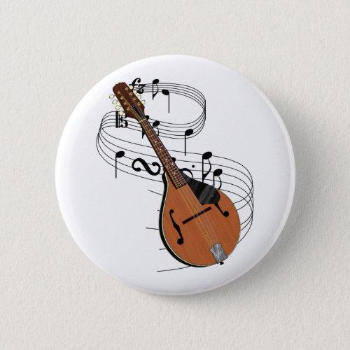 Mandolin Music Notes Round Button