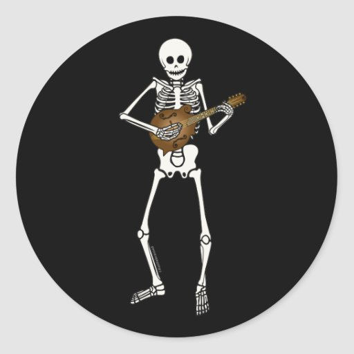 Mandolin Playing Skeleton Classic Round Sticker