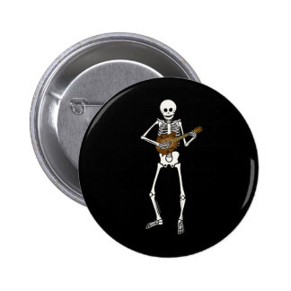 Mandolin Playing Skeleton Pinback Button