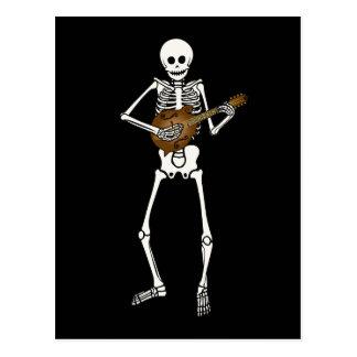 Mandolin Playing Skeleton Postcard