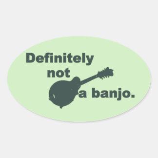 Mandolina -- Definitivamente no un banjo Pegatina Ovalada