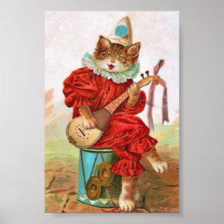 Mandolina del gato del músico del bufón del payaso póster