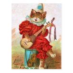 Mandolina del gato del músico del bufón del payaso postales