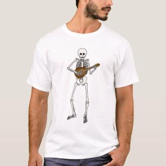 Mandolina que juega el esqueleto playera