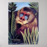 """Mandrill de Rousseau """"en la selva"""" (circa 1909) Posters"""