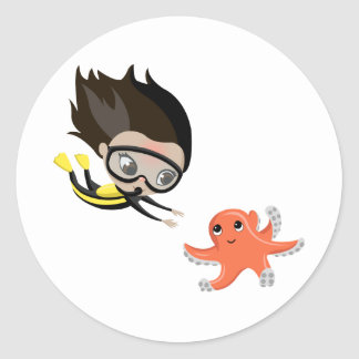 Mandy and Bubbles the Octopus Classic Round Sticker