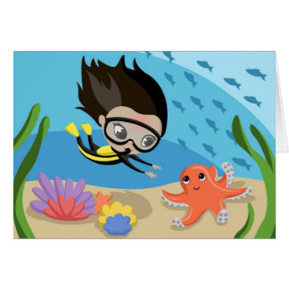 Mandy and Bubbles the Octopus Greeting Card