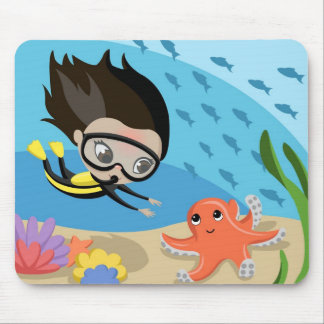 Mandy and Bubbles the Octopus Mouse Pad