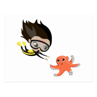 Mandy and Bubbles the Octopus Postcard
