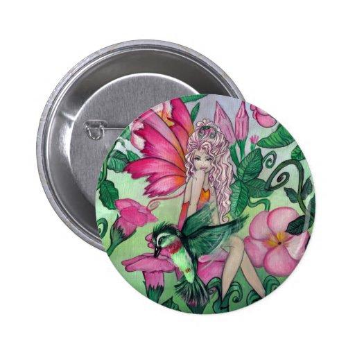 """Mandy"" fairy hummingbird fantasy art BUTTON"