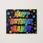 "[ Thumbnail: ""Mandy"" First Name, Fun ""Happy Birthday"" Jigsaw Puzzle ]"