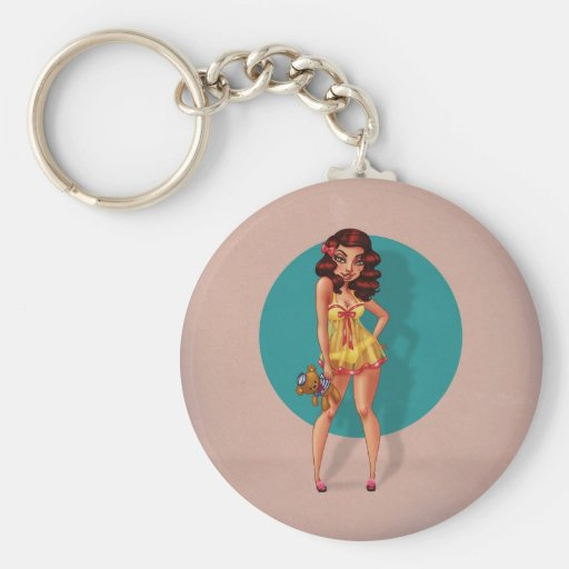 Mandy Marie - Pinup Model in Babydoll Night Dress Basic Round Button Keychain