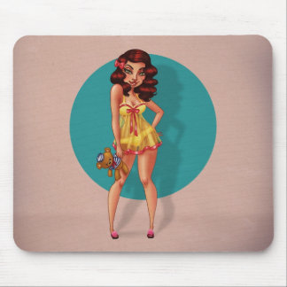 Mandy Marie - Pinup Model in Babydoll Night Dress Mouse Pad