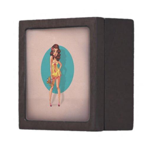 Mandy Marie - Pinup Model in Babydoll Night Dress Premium Jewelry Box