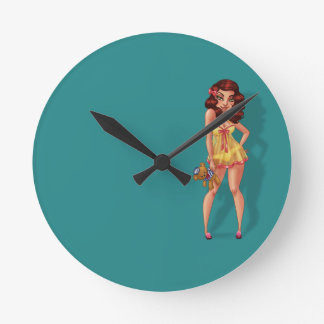 Mandy Marie - Pinup Model in Babydoll Night Dress Round Clock