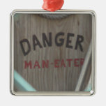ManEater Square Metal Christmas Ornament