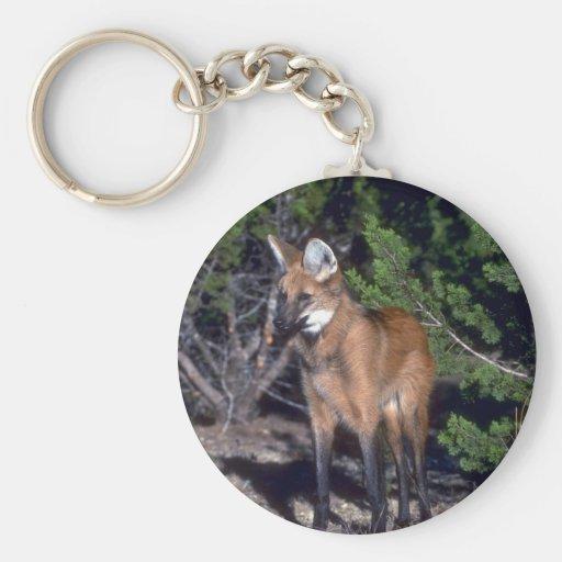 Maned Wolf Basic Round Button Keychain