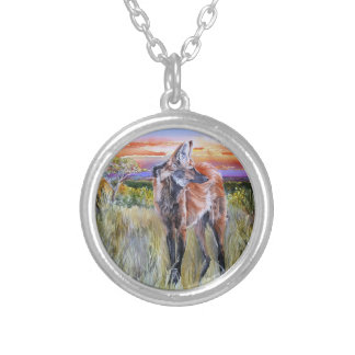 Maned Wolf Watercolor Art Round Pendant Necklace