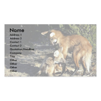 Maned wolves, mated pair business card templates