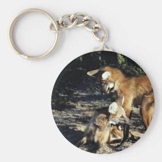 Maned wolves, mated pair key chains