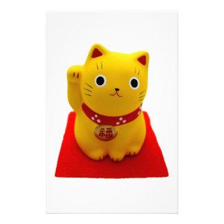 Maneki amarillo Neko en una alfombra roja Papelería Personalizada