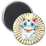 Maneki blanco Neko que tienta el gato de la buena  Imanes Para Frigoríficos