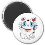 Maneki blanco Neko que tienta el gato de la buena  Imán Para Frigorifico