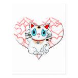 Maneki blanco Neko que tienta el gato de la buena  Tarjetas Postales
