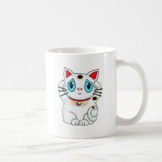 Maneki blanco Neko que tienta el gato de la buena  Tazas