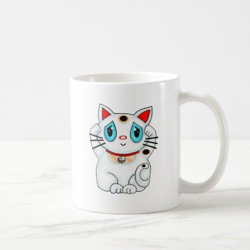 Maneki blanco Neko que tienta el gato de la buena Taza Clásica