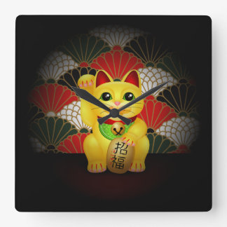 Maneki de cerámica amarillo Neko Reloj Cuadrado